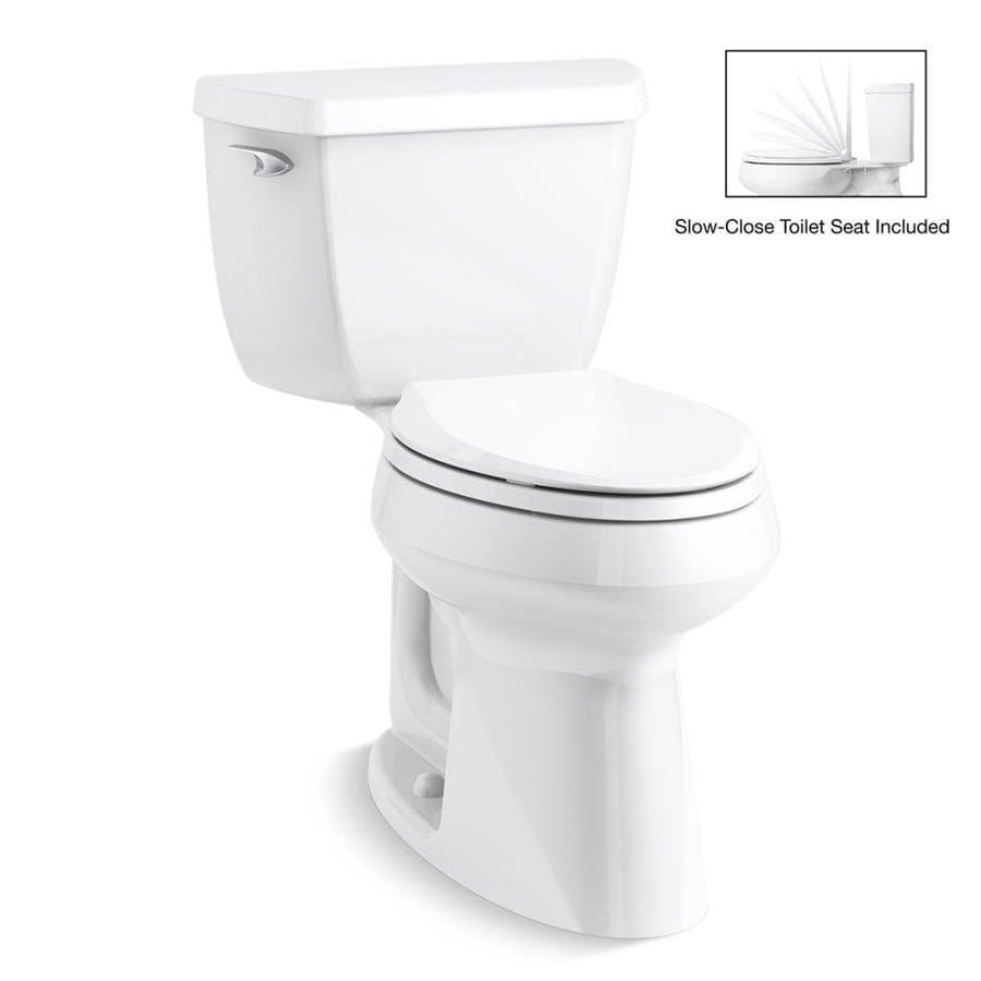 KOHLER Highline Classic White 1.28-GPF (4.85-LPF) 12 Rough-In WaterSense Elongated 2-Piece Chair Height Toilet