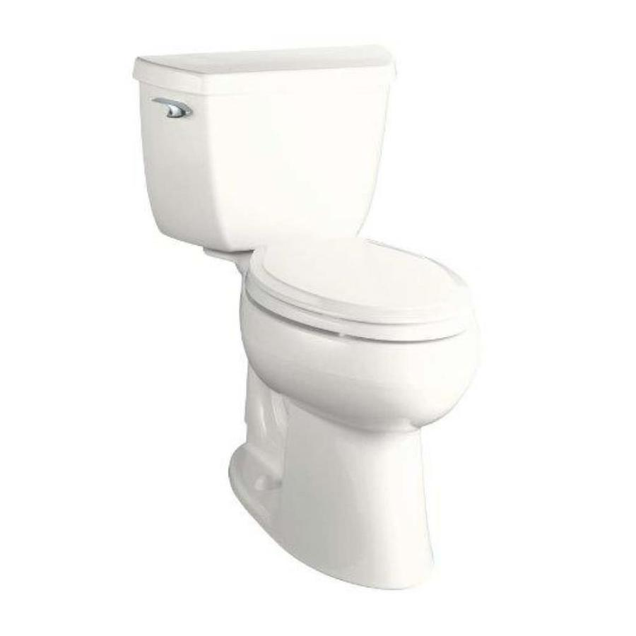 KOHLER Highline White 1.28-GPF (4.85-LPF) 10-in Rough-In WaterSense Elongated 2-Piece Comfort Height Toilet
