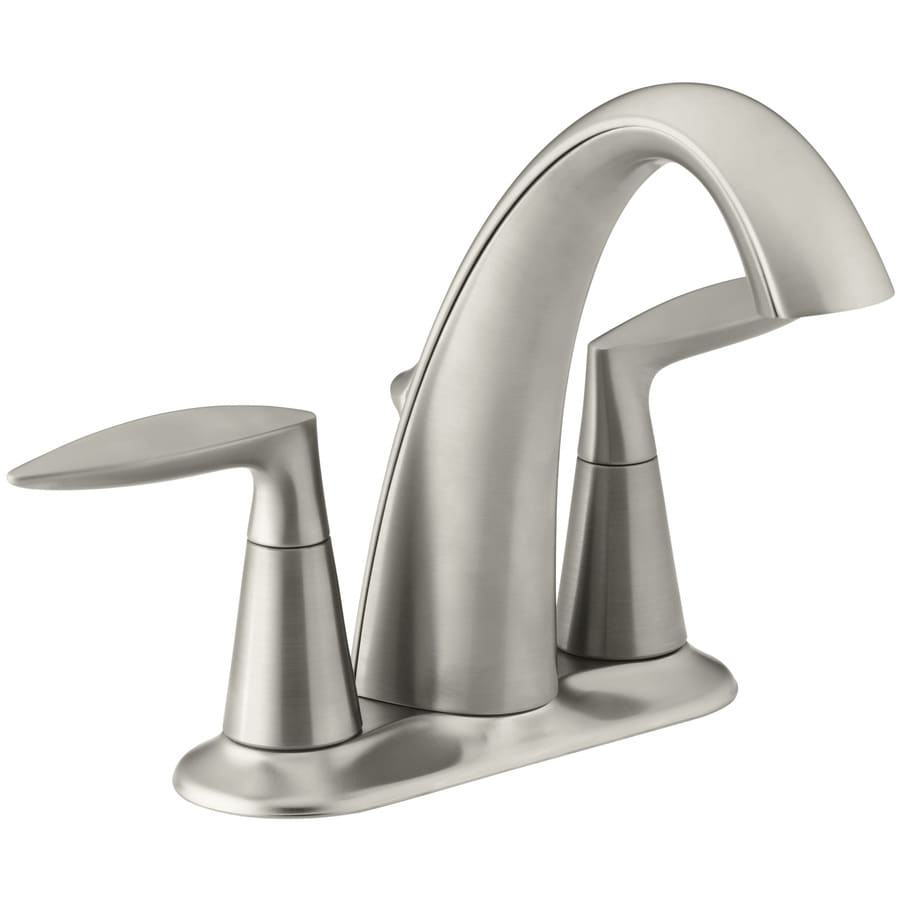 KOHLER Alteo Vibrant Brushed Nickel 2-Handle 4-in Centerset WaterSense Bathroom Faucet (Drain Included)
