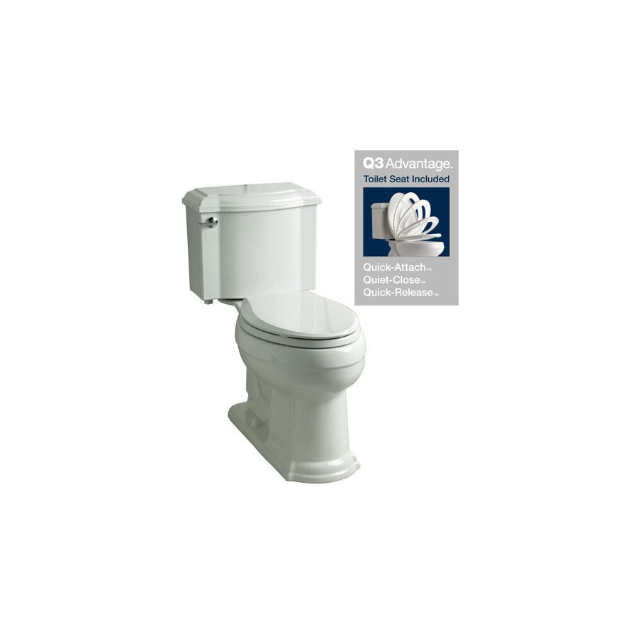 KOHLER Devonshire White 1.28-GPF (4.85-LPF) 12-in Rough-In WaterSense Elongated 2-Piece Chair Height Toilet
