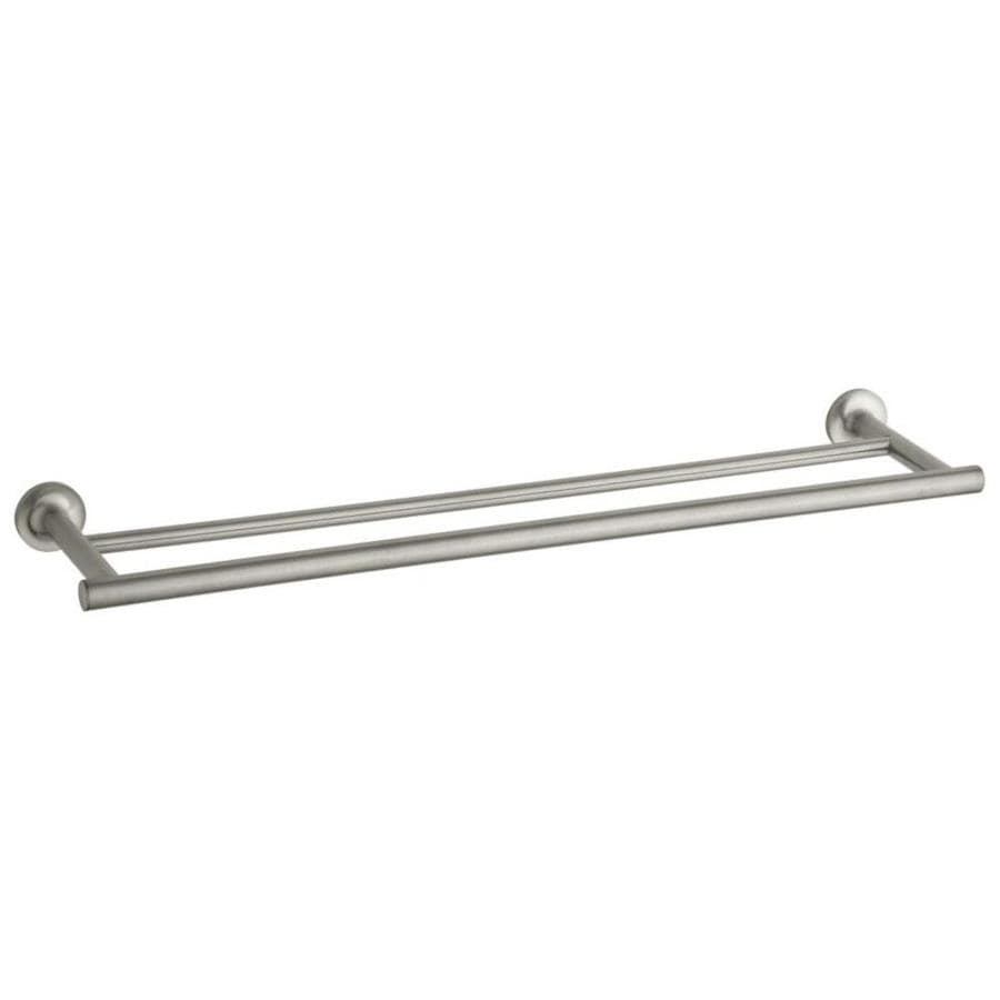 KOHLER Purist Vibrant Brushed Nickel Double Towel Bar (Common: 24-in; Actual: 24.9375-in)
