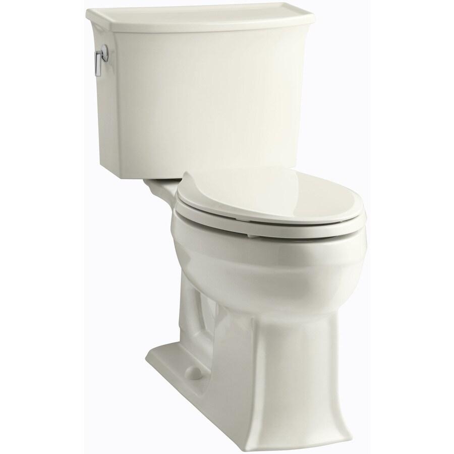 KOHLER Archer Biscuit 1.28-GPF (4.85-LPF) 12 Rough-In WaterSense Elongated 2-Piece Chair Height Toilet