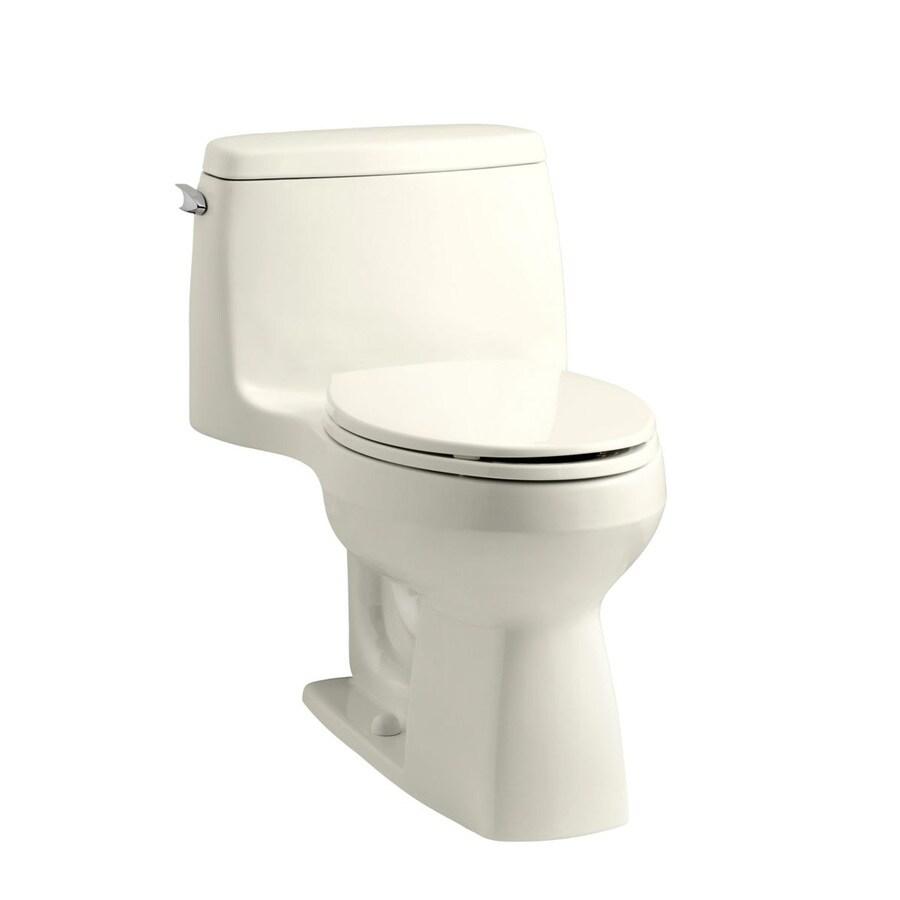 KOHLER Santa Rosa Biscuit 1.28-GPF (4.85-LPF) 12 Rough-In WaterSense Elongated 1-Piece Chair Height Toilet