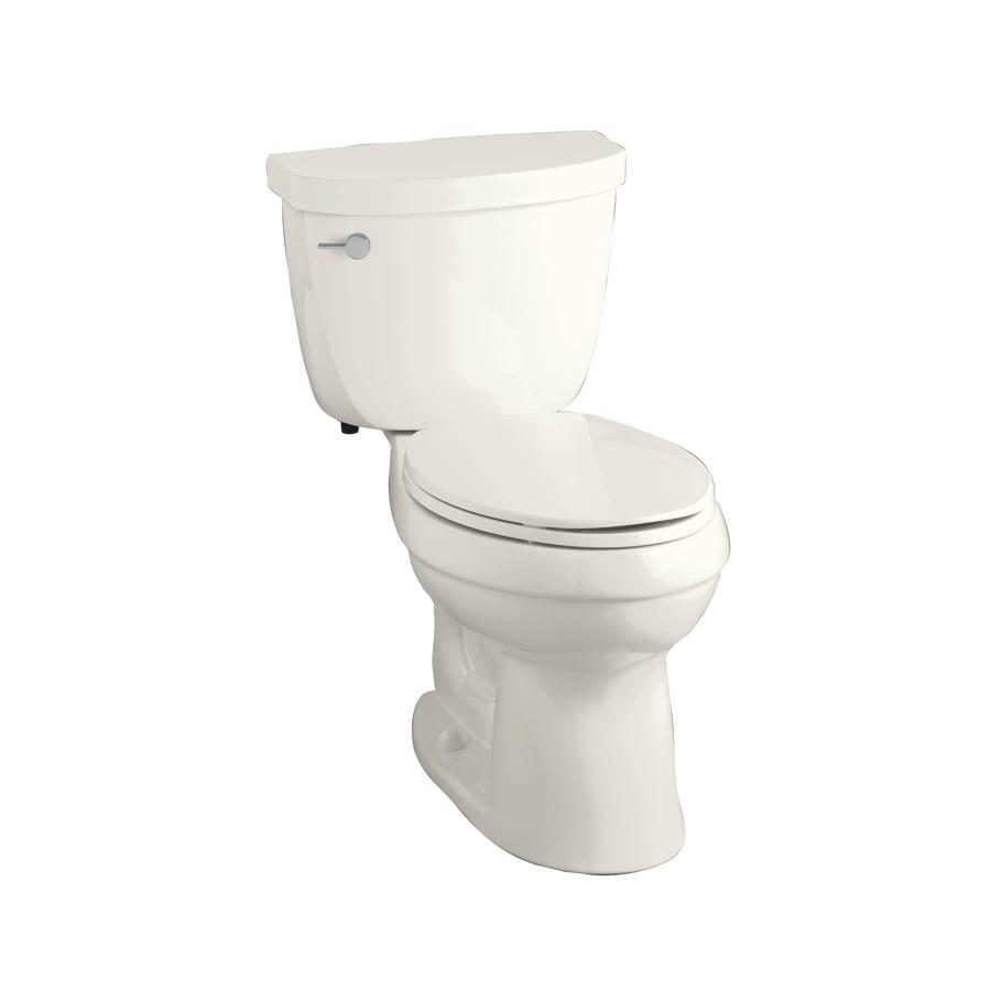 KOHLER Cimarron Biscuit 1.28-GPF (4.85-LPF) 12-in Rough-in WaterSense Elongated 2-Piece Comfort Height Toilet