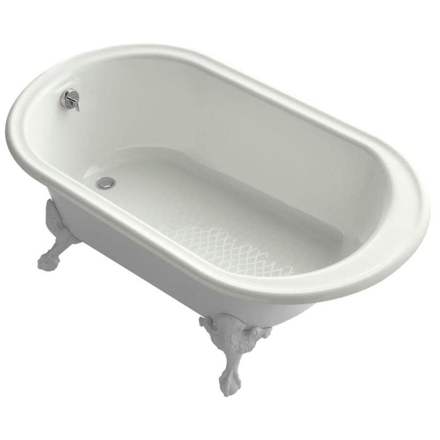 KOHLER Iron Works Historic Dune Cast Iron Oval Freestanding Bathtub with Reversible Drain (Common: 36-in x 66-in; Actual: 24.5-in x 36-in x 66-in)