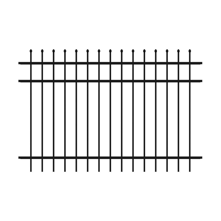 Ironcraft Orleans Black Powder-Coated Aluminum Decorative Fence Panel (Common: 6-ft x 4-ft; Actual: 6-ft x 4-ft)