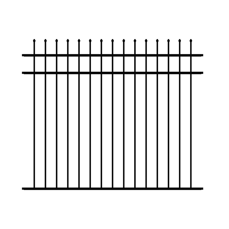 Ironcraft Orleans Black Powder-Coated Aluminum Decorative Fence Panel (Common: 6-ft x 5-ft; Actual: 6-ft x 5-ft)