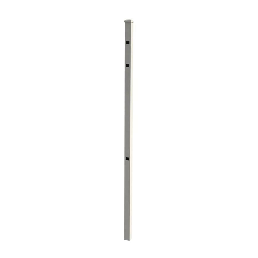 Ironcraft White Powder-Coat Decorative Metal Fence Post (Actual: 2-in)