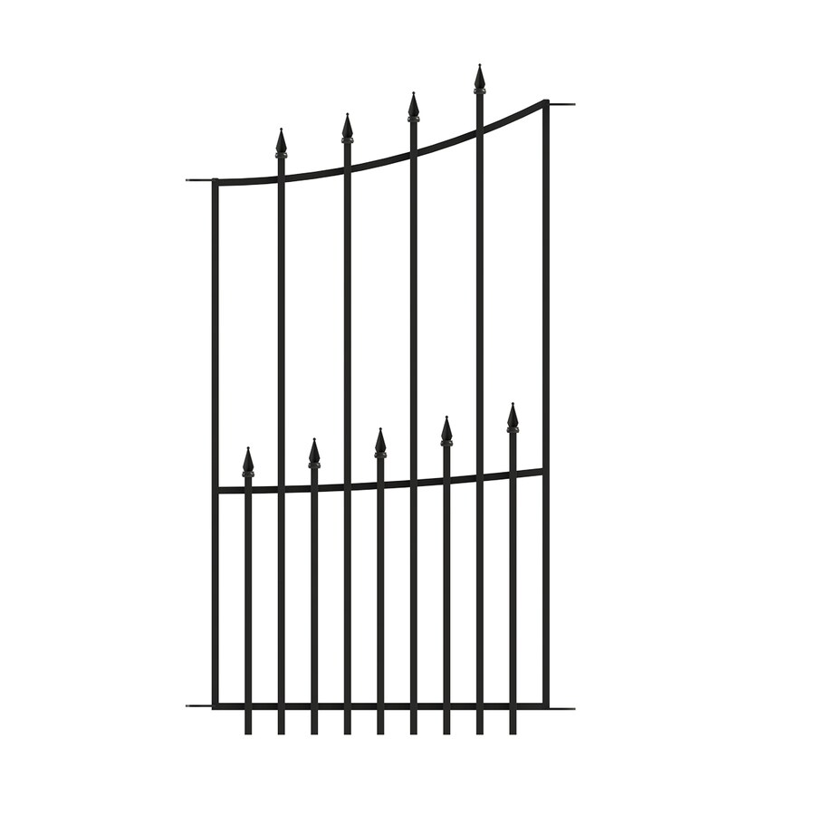 No Dig Grand Empire Black Steel Decorative Fence Panel (Common: 2.1-ft x 3.6-ft; Actual: 2.1-ft x 3.6-ft)