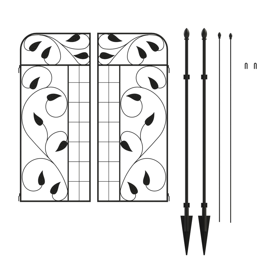 No Dig Black Powder-Coated Steel Decorative Fence Gate (Common: 1.63-ft x 4.3-ft; Actual: 1.63-ft x 4.3-ft)