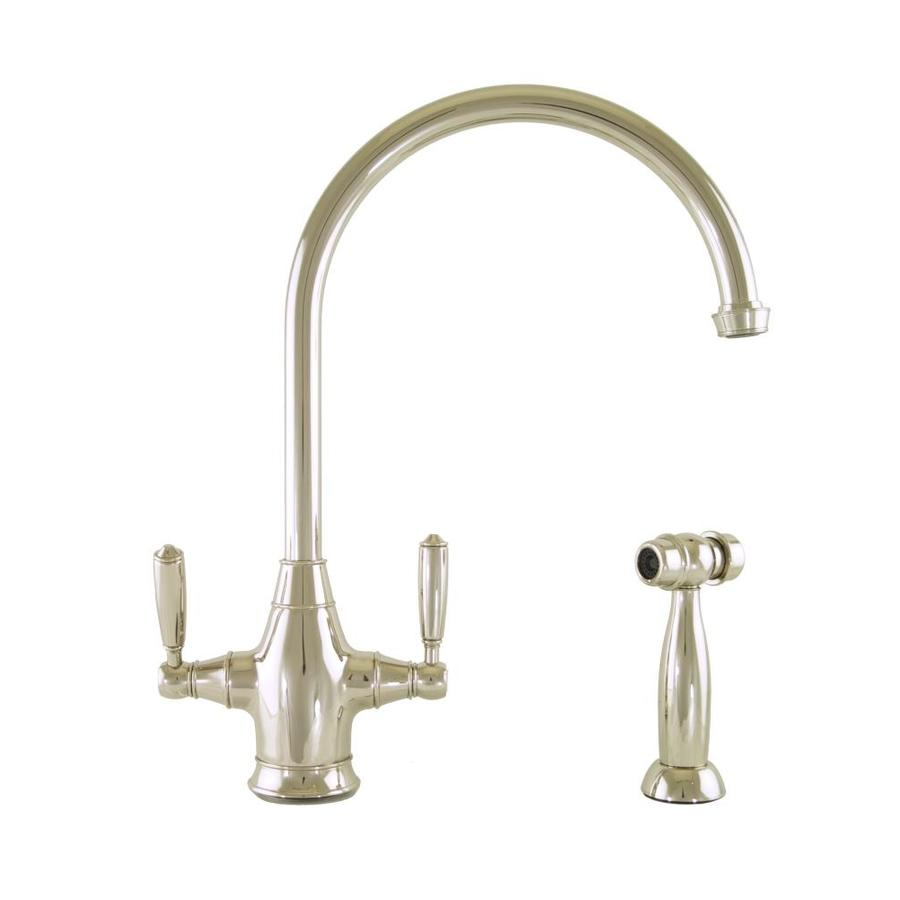 Mico Designs Chester Polished Nickel 2-Handle High-Arc Kitchen Faucet with Side Spray