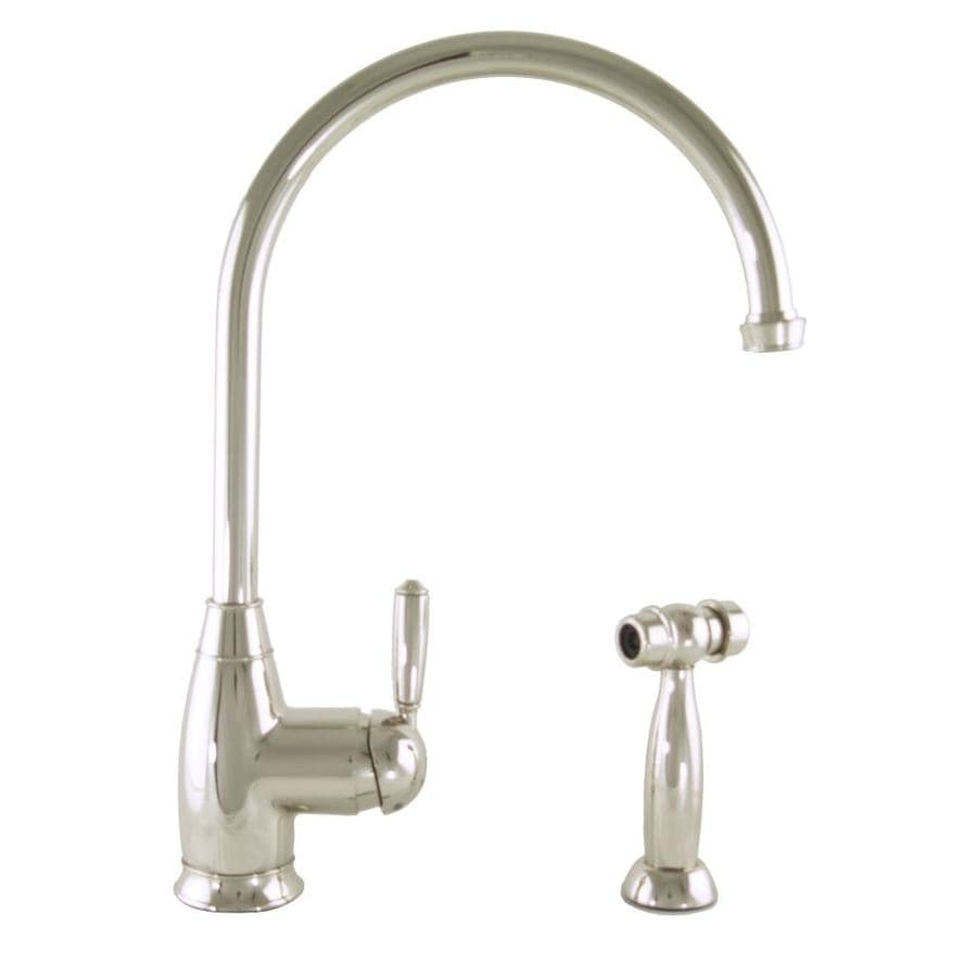 Mico Designs Chester Satin Nickel 1-Handle High-Arc Kitchen Faucet with Side Spray