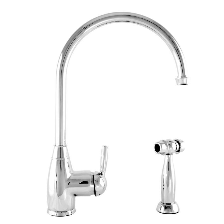 Mico Designs Churchill Polished Chrome 1-Handle High-Arc Kitchen Faucet with Side Spray