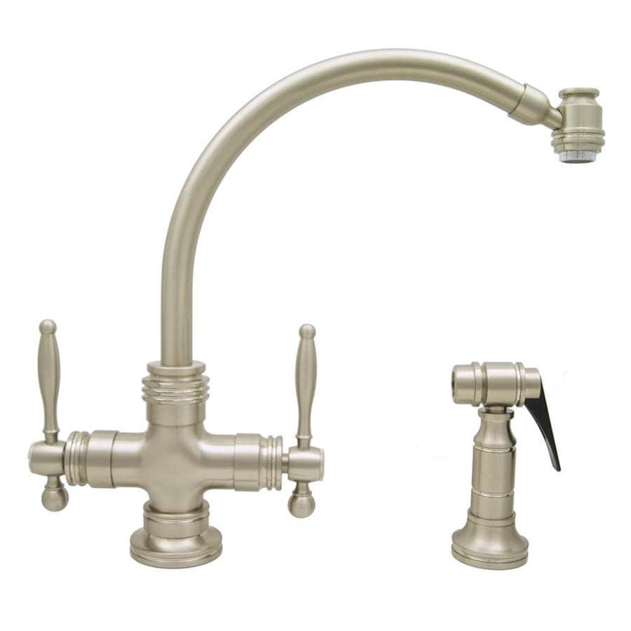 Mico Designs Principe Satin Nickel 2-Handle High-Arc Kitchen Faucet with Side Spray