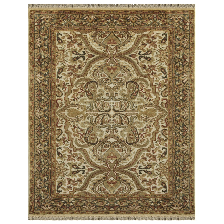 Alegra Rectangular Cream Floral Tufted Wool Area Rug (Common: 8-ft x 10-ft; Actual: 8-ft x 11-ft)