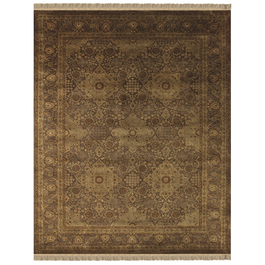 Alegra Rectangular Brown Floral Tufted Wool Area Rug (Common: 8-ft x 10-ft; Actual: 8-ft x 11-ft)