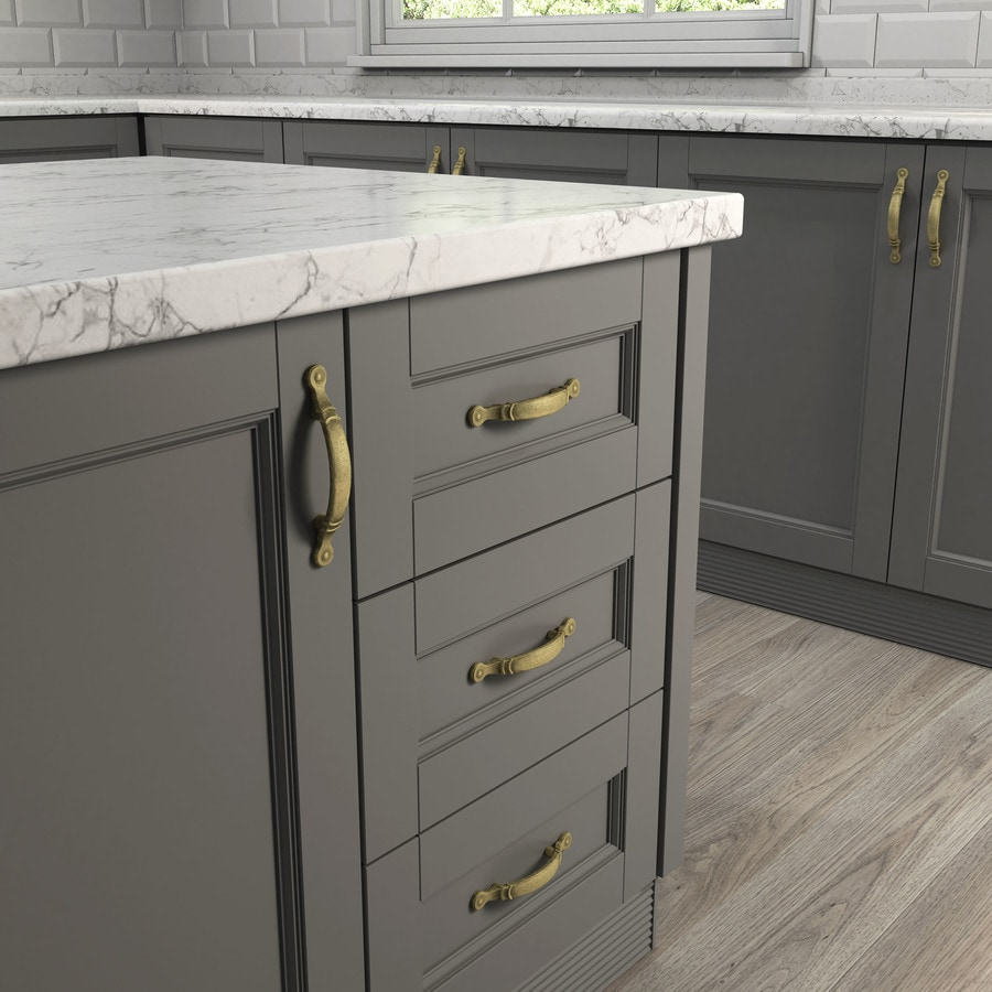 Style Selections 3-in Center-to-Center Aged Brass Arched Cabinet Pull