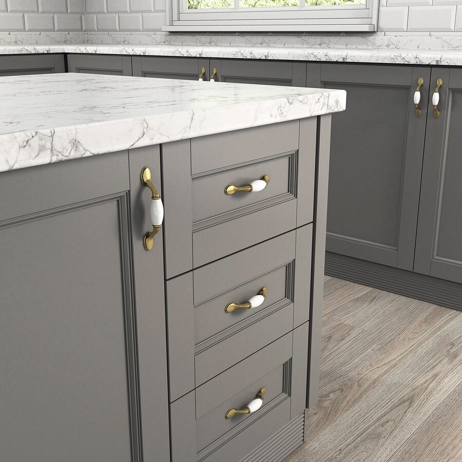 Style Selections 3-in Center-to-Center Antique Brass and Almond Arched Cabinet Pull