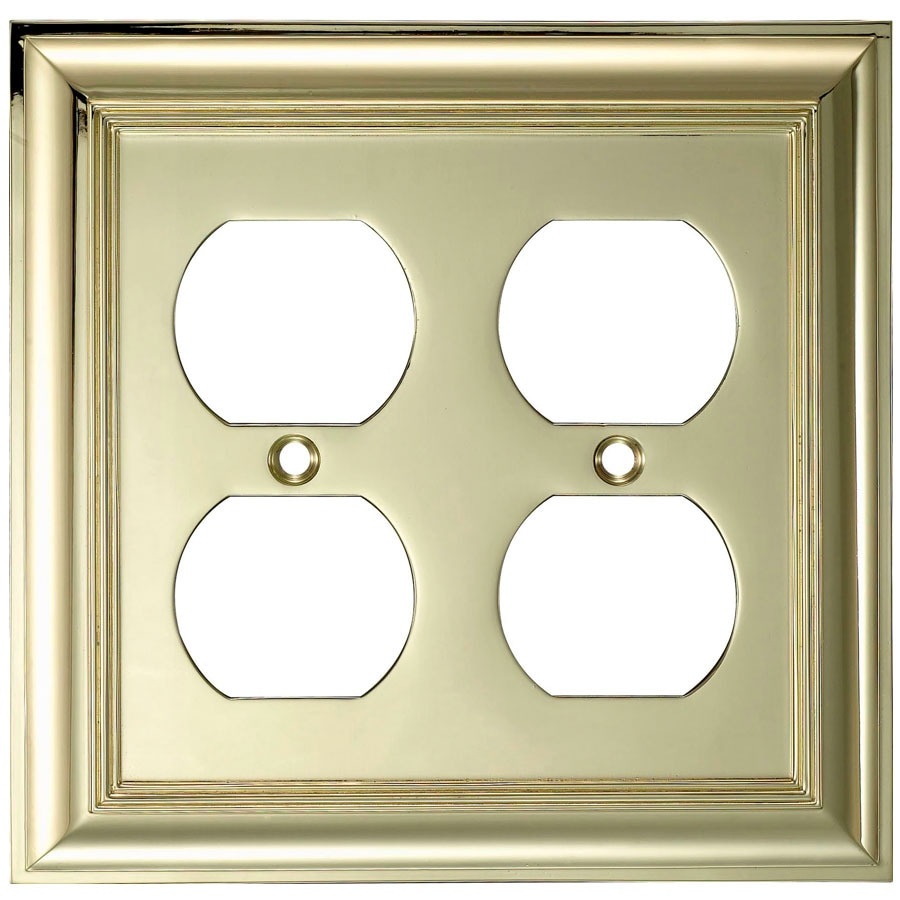 allen + roth 2-Gang Polished Brass Round Wall Plate