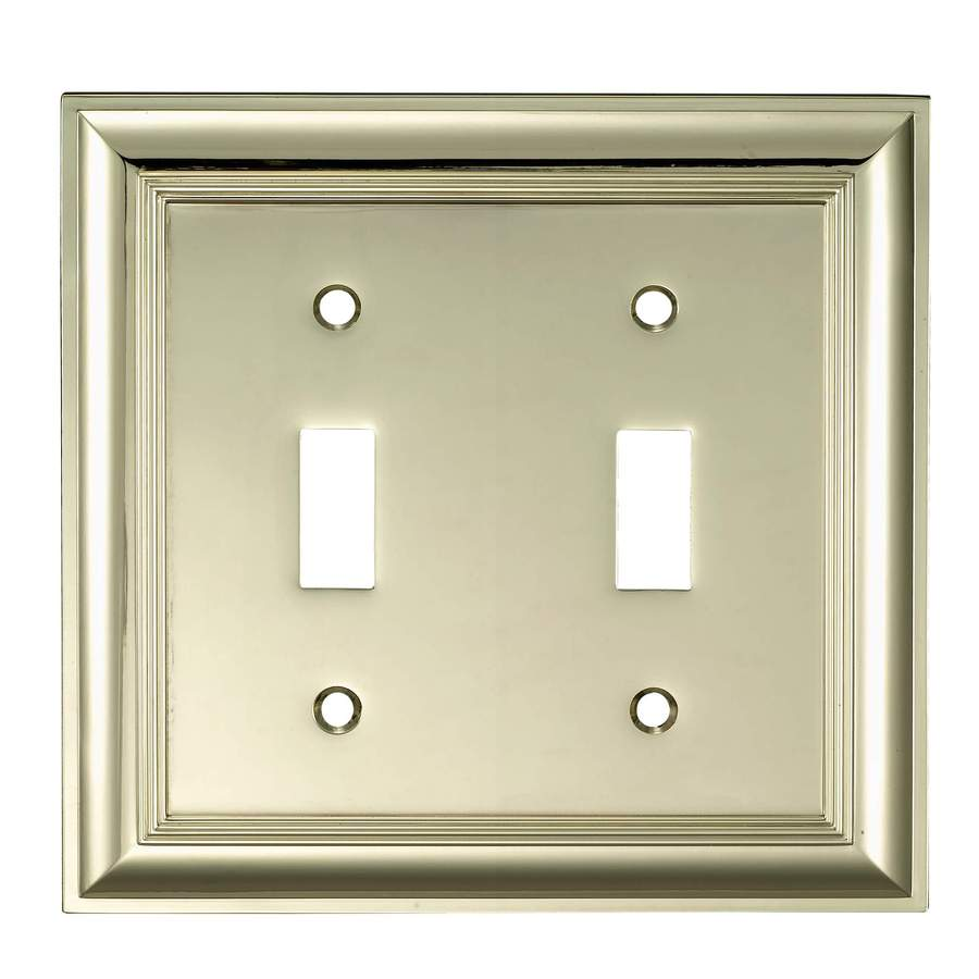 allen + roth 2-Gang Polished Brass Toggle Wall Plate