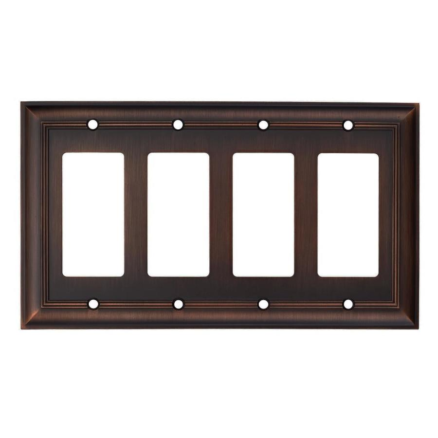 allen + roth 4-Gang Oil-Rubbed Bronze Decorator Wall Plate