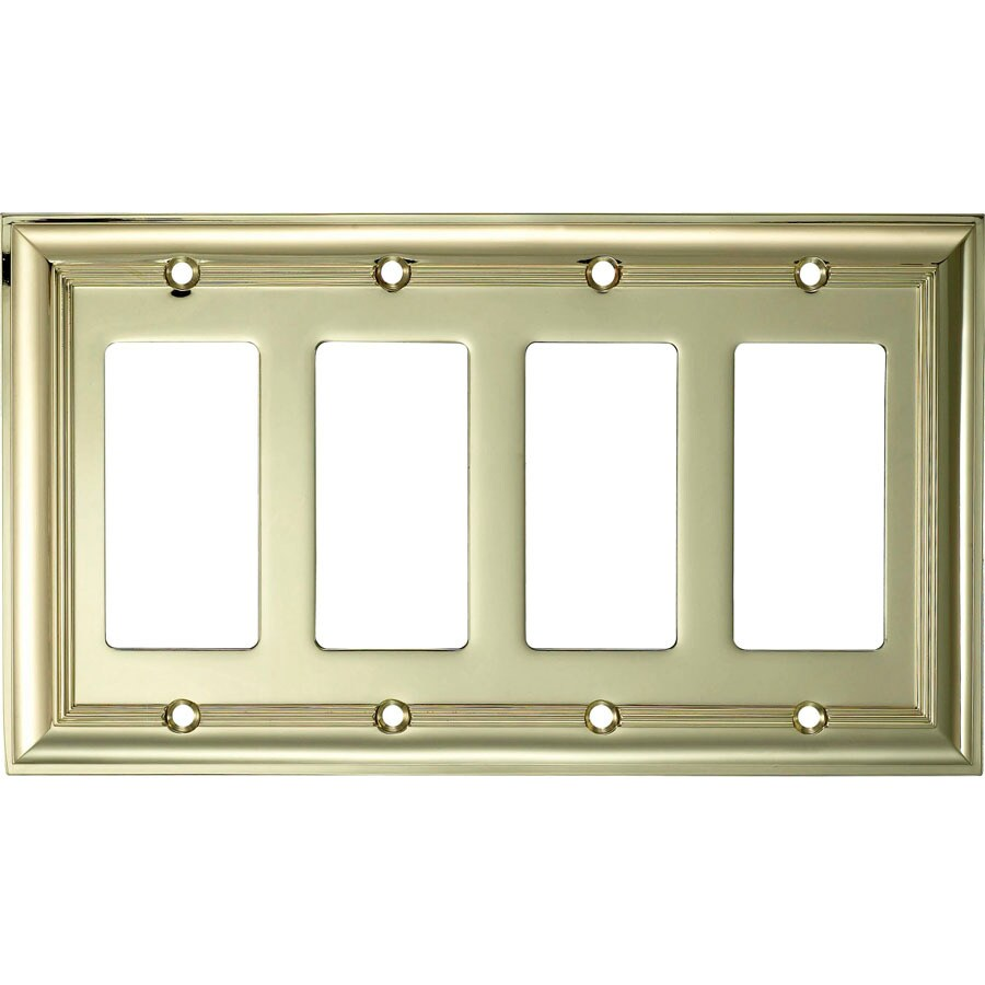 allen + roth 4-Gang Polished Brass Decorator Wall Plate
