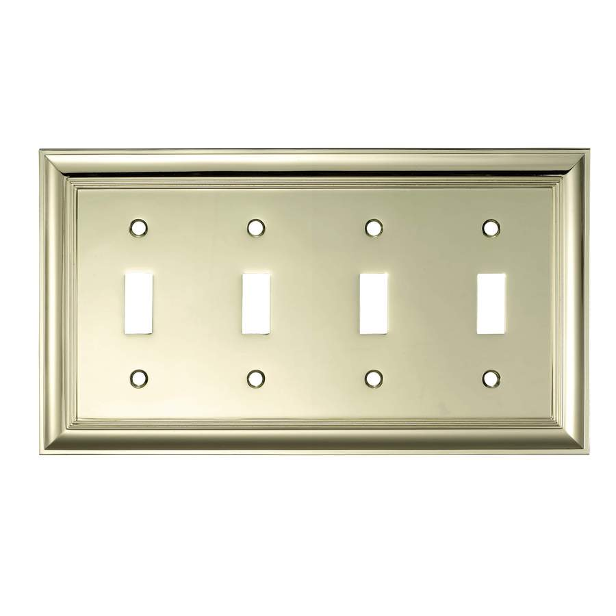 allen + roth 4-Gang Polished Brass Toggle Wall Plate