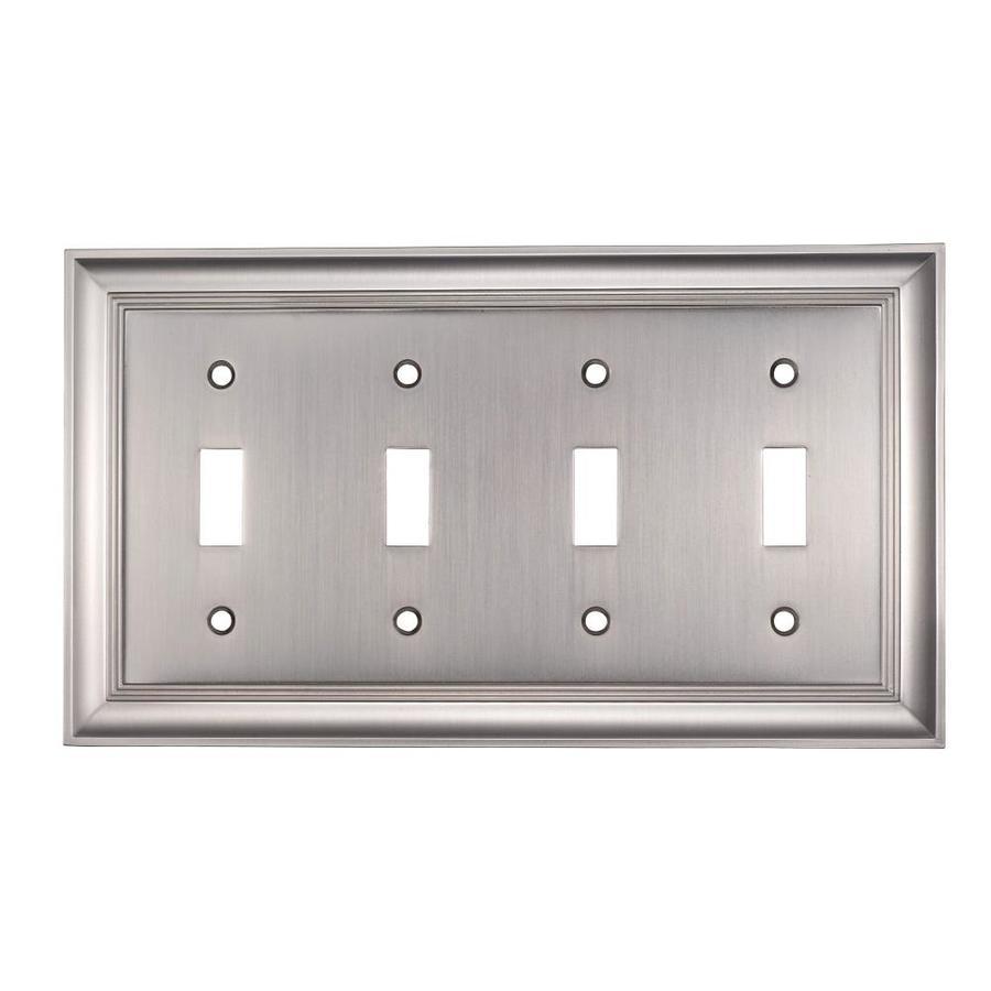 allen + roth 4-Gang Satin Nickel Standard Toggle Metal Wall Plate
