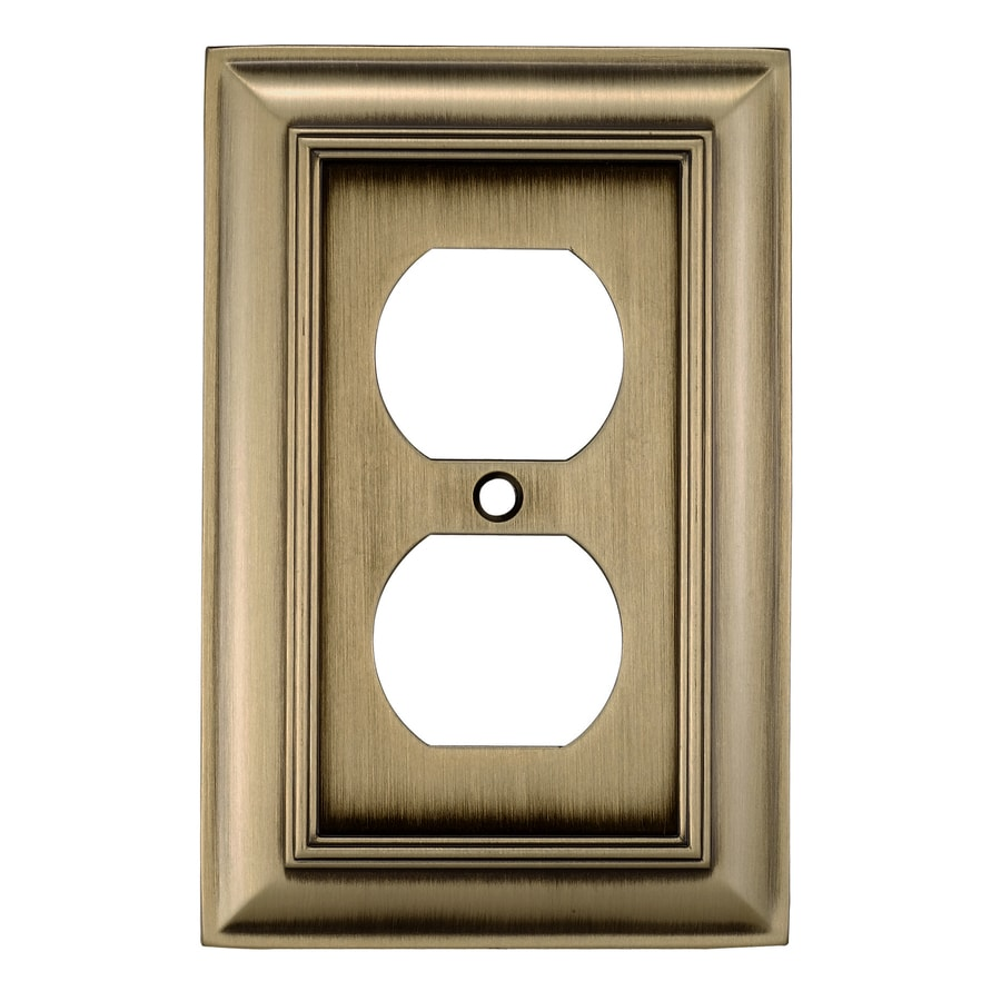 Shop allen + roth 1-Gang Antique Brass Round Wall Plate at Lowes.com
