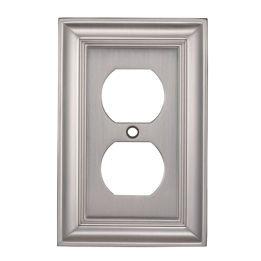 allen + roth 1-Gang Satin Nickel Round Wall Plate