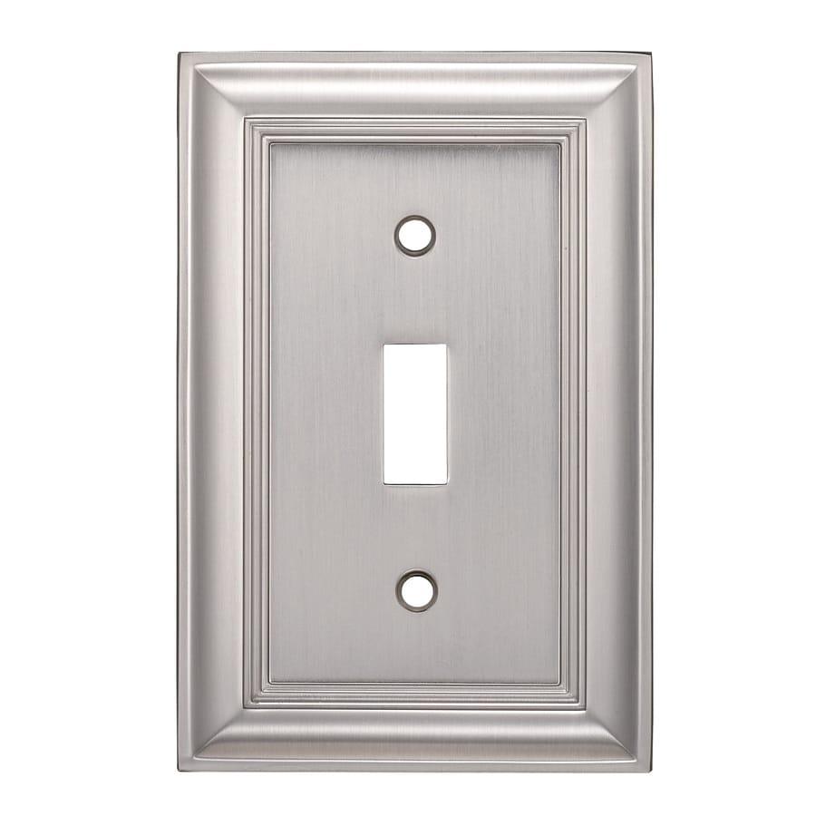 allen + roth 1-Gang Satin Nickel Standard Toggle Metal Wall Plate