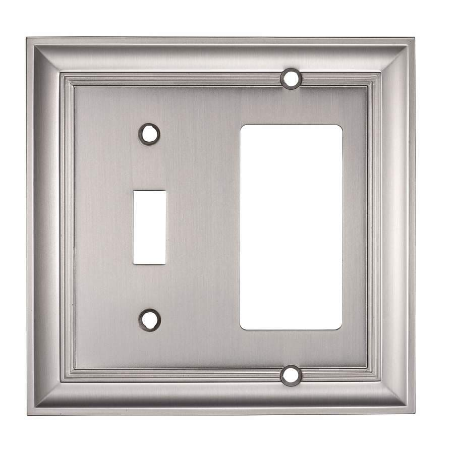 allen + roth 2-Gang Satin Nickel Single Round Wall Plate