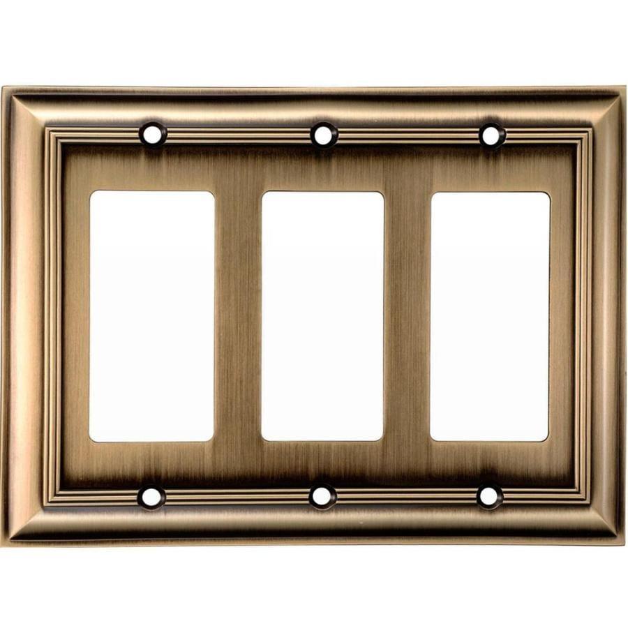 allen + roth 3-Gang Antique Brass Decorator Wall Plate