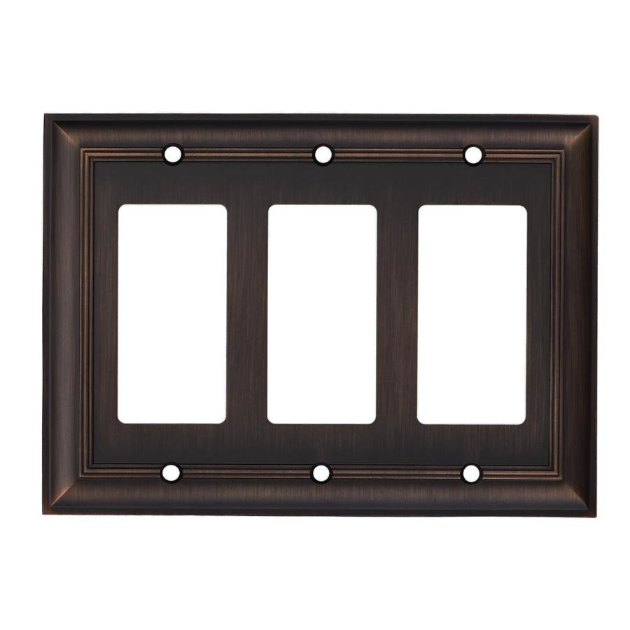 Shop Allen Roth 3 Gang Oil Rubbed Bronze Decorator Wall