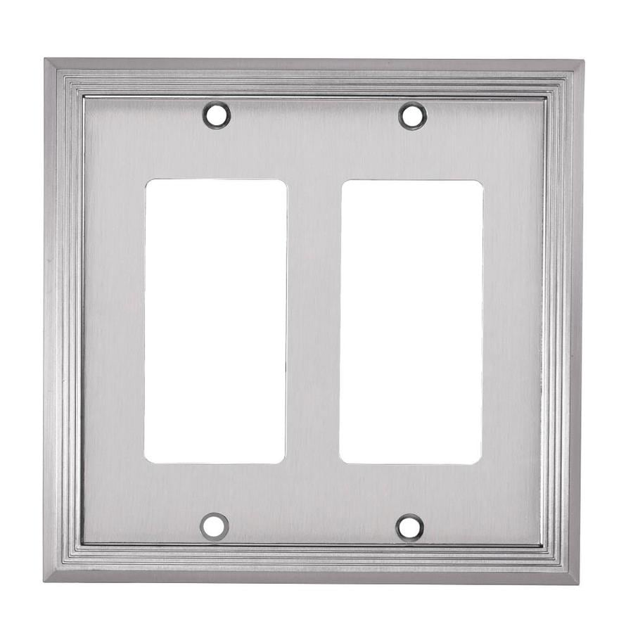 allen + roth 2-Gang Satin Nickel Decorator Wall Plate