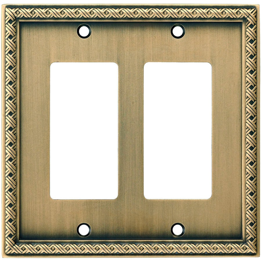 allen + roth 2-Gang Aged Brass Decorator Wall Plate