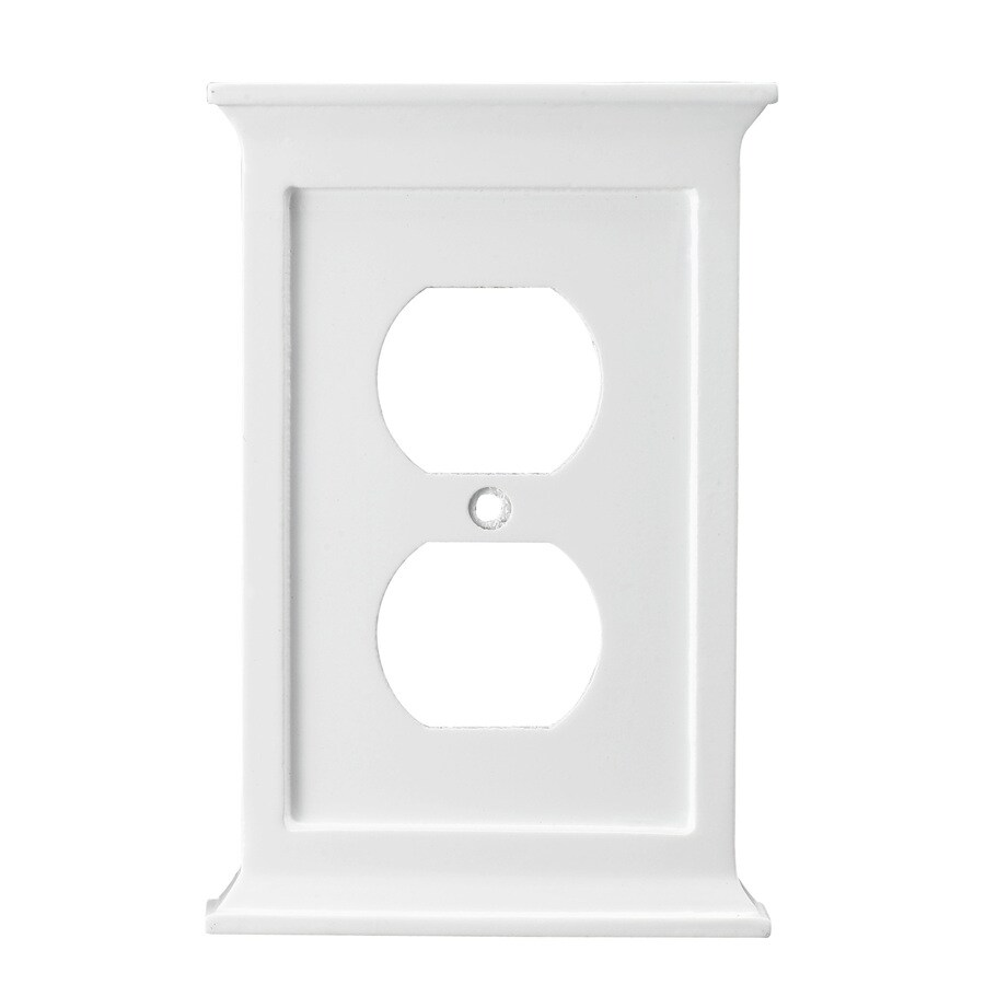 allen + roth 1-Gang White Round Wall Plate