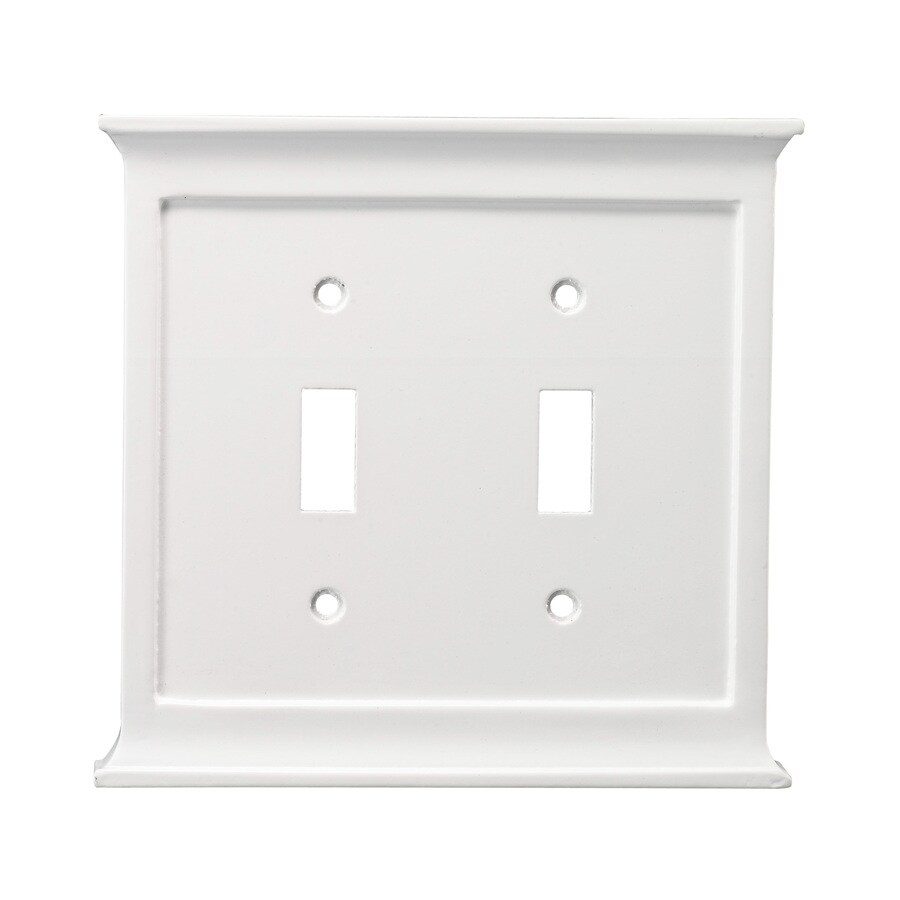 allen + roth 2-Gang White Toggle Wall Plate