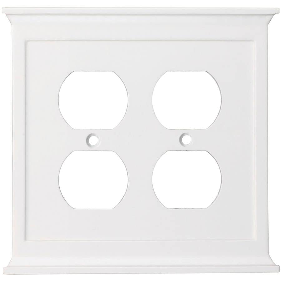 allen + roth 2-Gang White Round Wall Plate