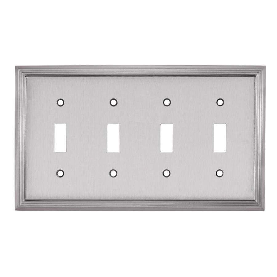 allen + roth 4-Gang Satin Nickel Toggle Wall Plate