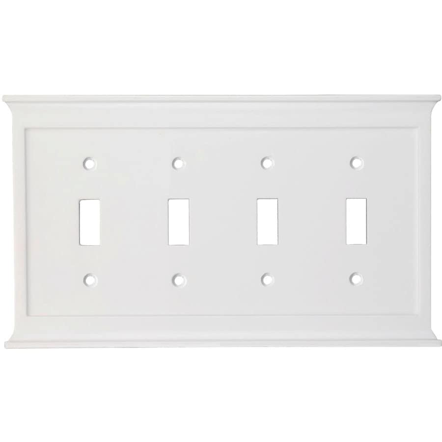 allen + roth 4-Gang White Toggle Wall Plate