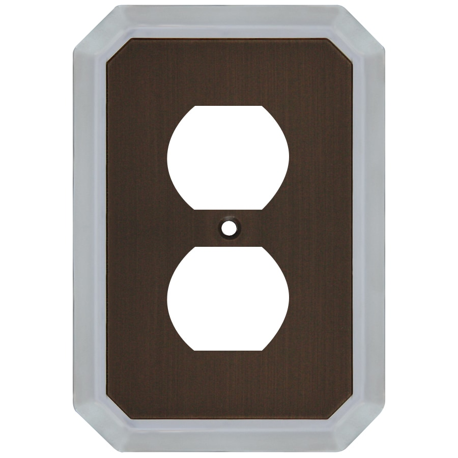 allen + roth 1-Gang Dark Oil-Rubbed Bronze and Satin Nickel Round Wall Plate
