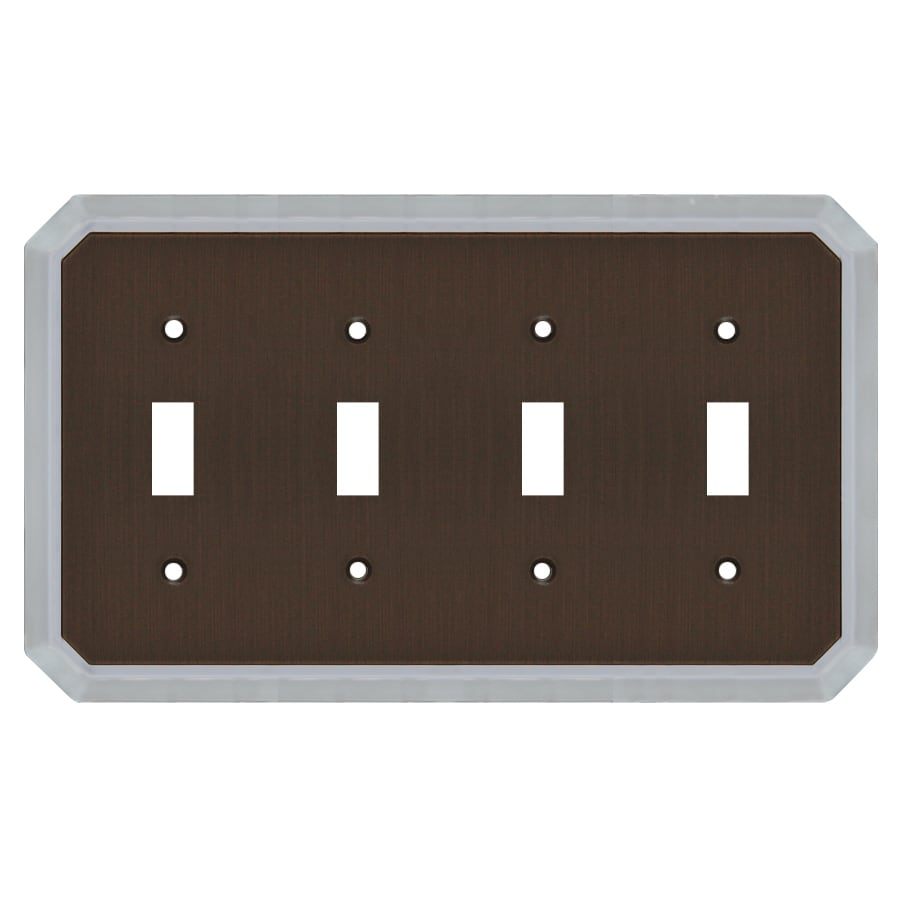allen + roth 4-Gang Dark Oil-Rubbed Bronze and Satin Nickel Toggle Wall Plate