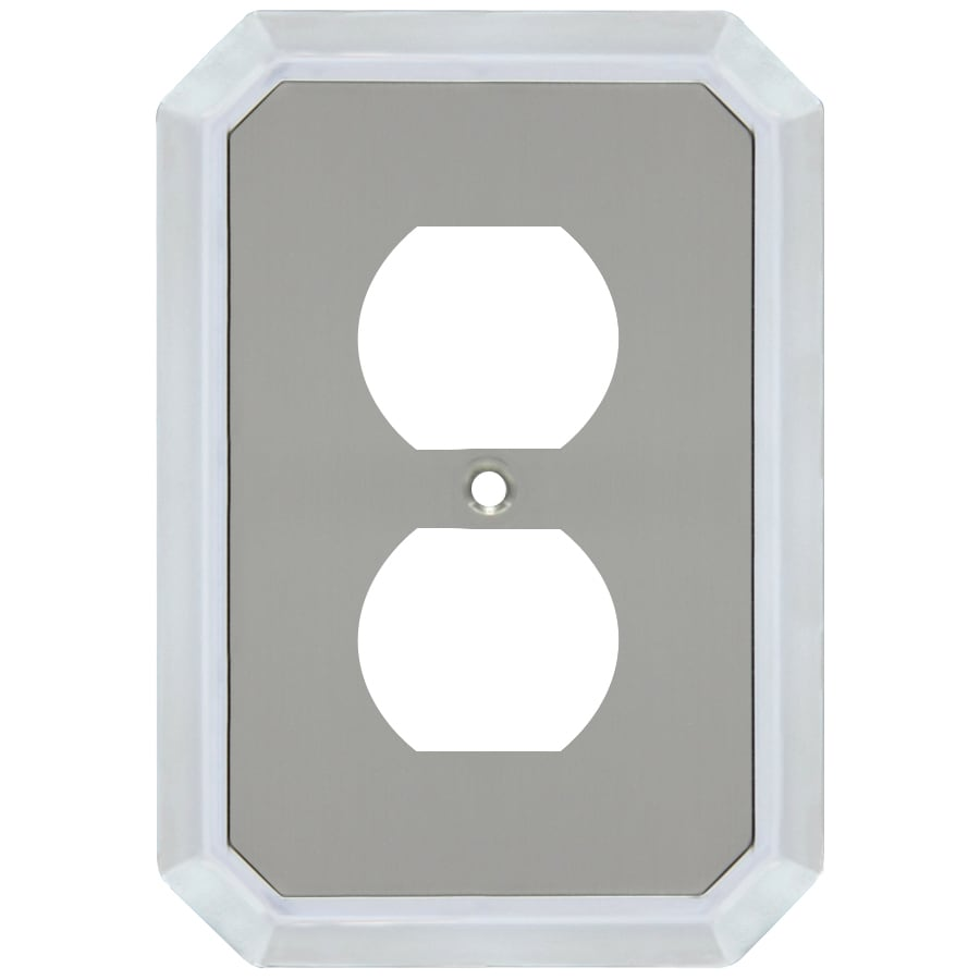 allen + roth 1-Gang Satin Nickel and Polished Chrome Round Wall Plate