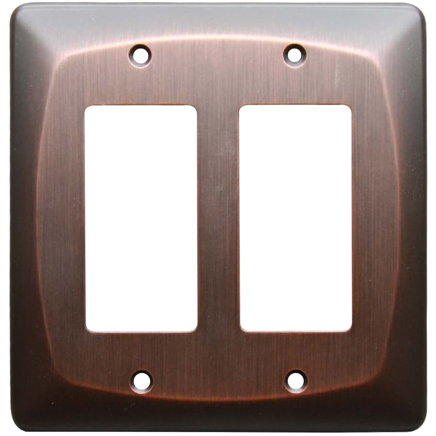allen + roth 2-Gang Dark Oil-Rubbed Bronze Decorator Wall Plate