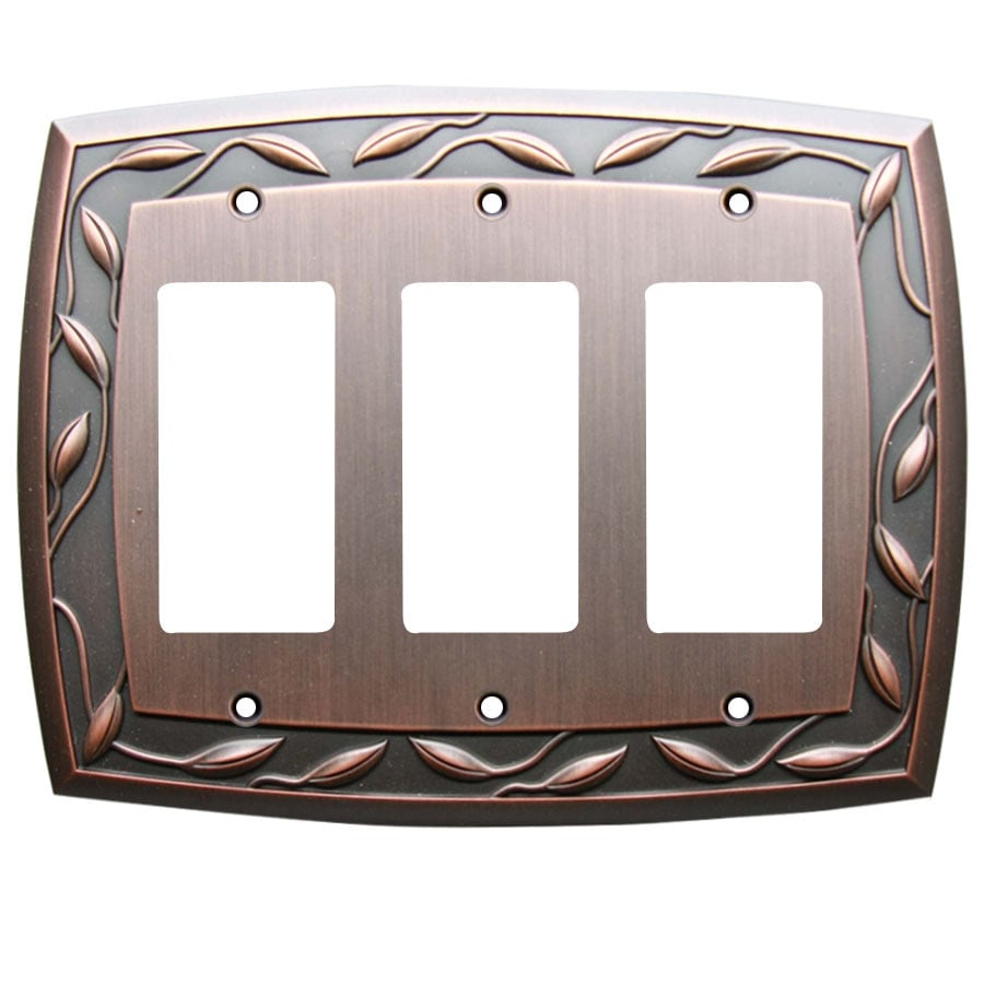 allen + roth 3-Gang Dark Oil-Rubbed Bronze Decorator Wall Plate