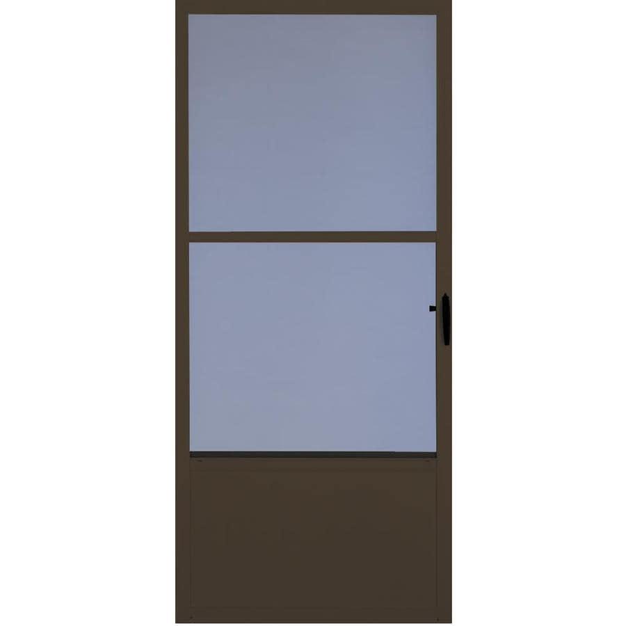 Comfort-Bilt Fremont Brown Mid-View Tempered Glass Aluminum Standard Half Screen Storm Door (Common: 36-in x 81-in; Actual: 35.875-in x 80-in)
