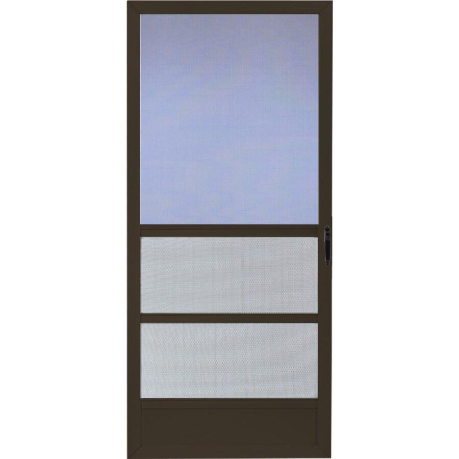Comfort-Bilt Palm Beach Brown Aluminum Hinged Screen Door (Common: 32-in x 81-in; Actual: 31.875-in x 80-in)