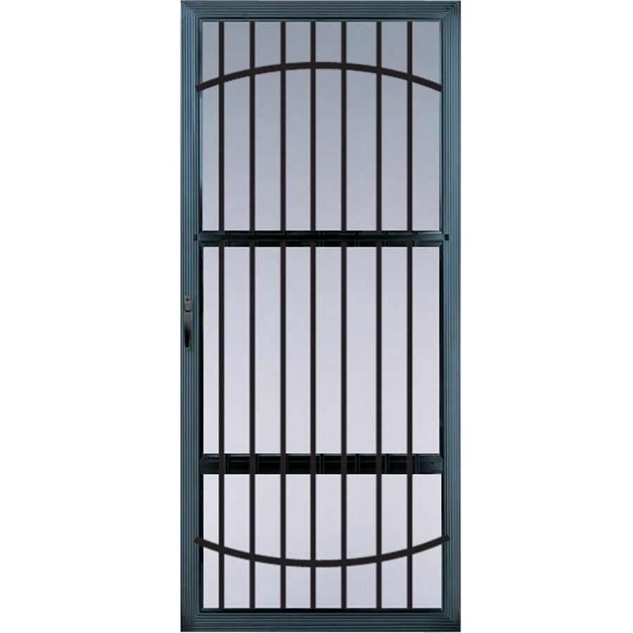 Shop comfort bilt meridian black full view tempered glass for Glass screen door