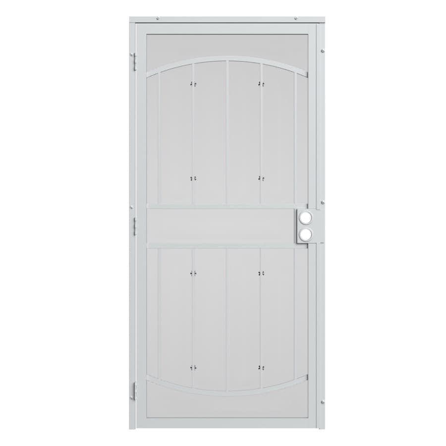 Shop gatehouse gibraltar white steel surface mount single for Metal security doors